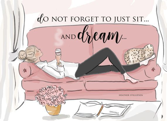 Sit and Dream  Wall Art for Women  Yes by RoseHillDesignStudio