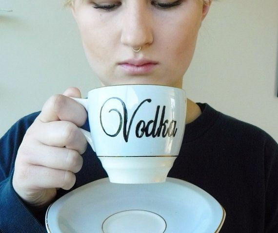 Vodka teacup on Etsy. This just makes us laugh.: Green Tea, Gift Ideas, Mine Vodka, Etsy Shitt, Favorite Mugs Cups, 28 00, Vodka Teacup