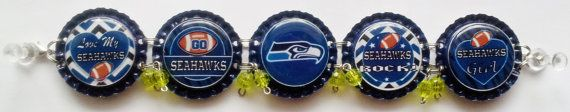 Seattle Seahawks Bottle Cap Bracelet w/ or by RevampedEcoJewelry