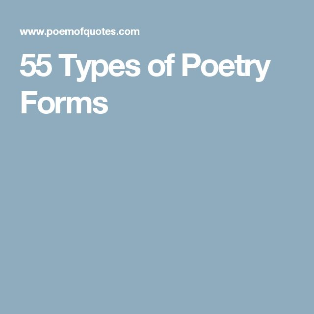 55 Types of Poetry Forms