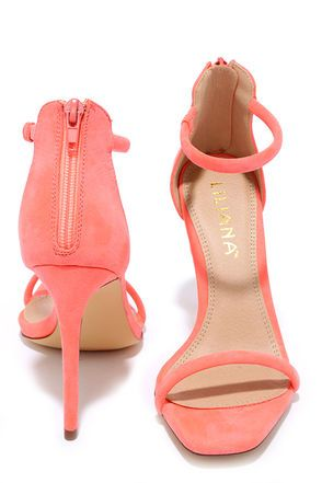 Do the Tango Neon Coral Suede Ankle Strap Heels at Lulus.com!