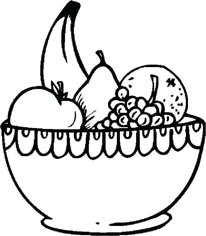 Fruit Bowl Coloring Page Desain