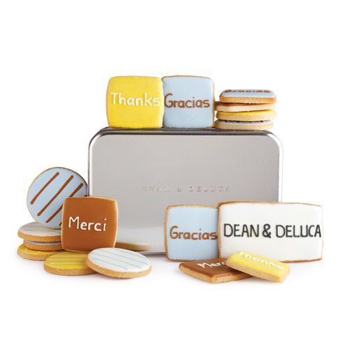 Thank You Cookie Tin: Melt-in-your-mouth butter cookies topped off by a smooth and silky powdered-sugar-and-meringue icing. - $48 at Dean & DeLuca