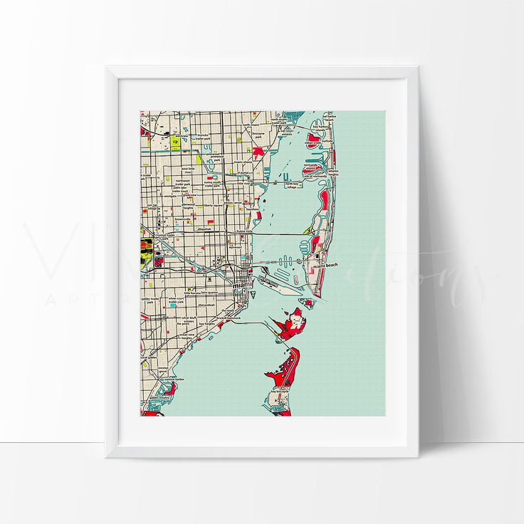 Miami City Map Art Print Detailed colorful