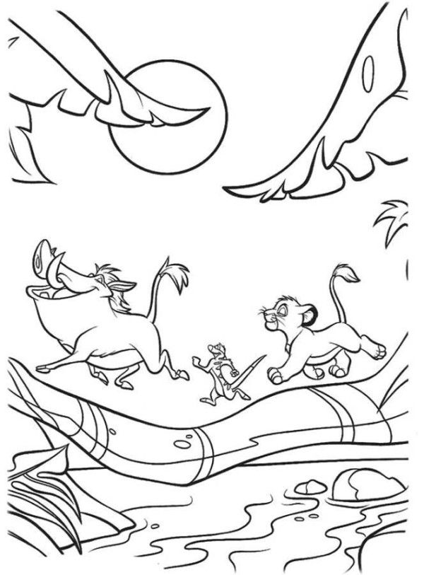 Simba, Timon And Pumbaa Crossing A Bridge The Lion King Coloring Page