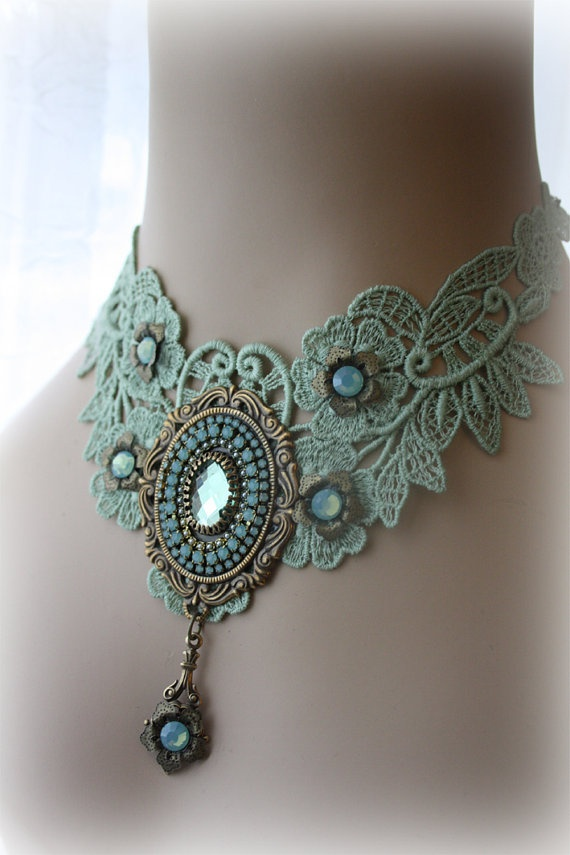Gorgeous Soft Green Lace Choker  Victorian by poppenkraal on Etsy, $59.90