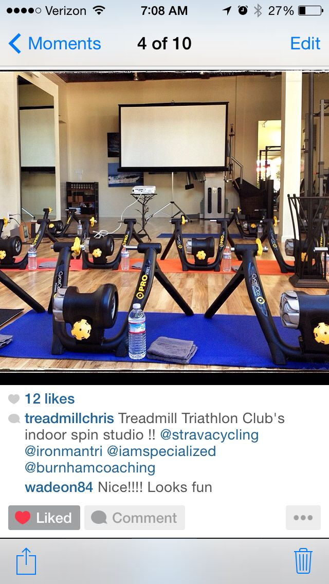 An indoor treadmill cycling studio! This is awesome! I'd love to take this class!!