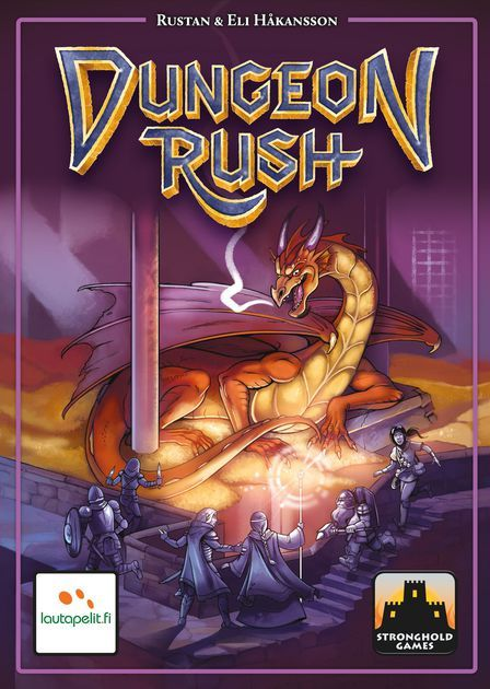 In Dungeon Rush, players are adventurers rushing through a perilous dungeon to root out evil, earning coins and improving their abilities along the way. After three levels (with three rounds of monsters in each level) they face the Dungeon Lord and the Dragon.  Each player has two heroes, one for their right hand and one for their left. Players simultaneously reveal two dungeon cards each and quickly put their hands on the cards they want their heroes to fight. If you win, you claim the card…