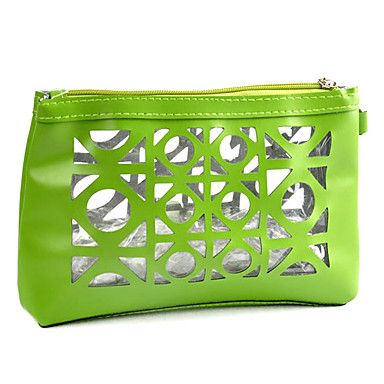 1pcs Hollowed-out  Plastic And Leather Cosmetic Bag (25x18x7cm,Random Color)
