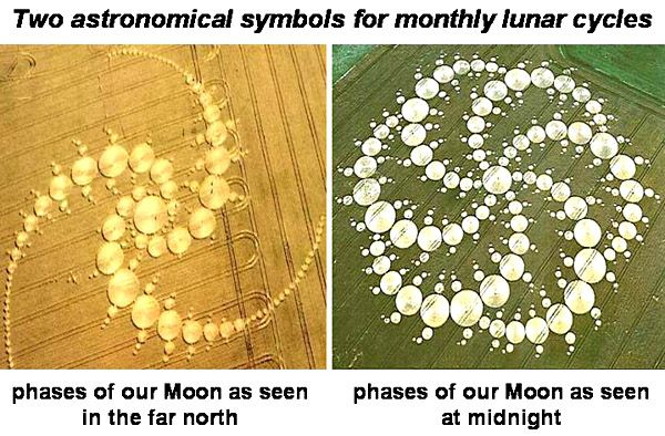 Each of these pictures seems toillustrate in symbolic form the monthly phases of our Moon as seen at far northern latitudes on Earth, orat the latitude of England close to midnight, although other people have interpreted them in terms of Mandelbrot-type fractals