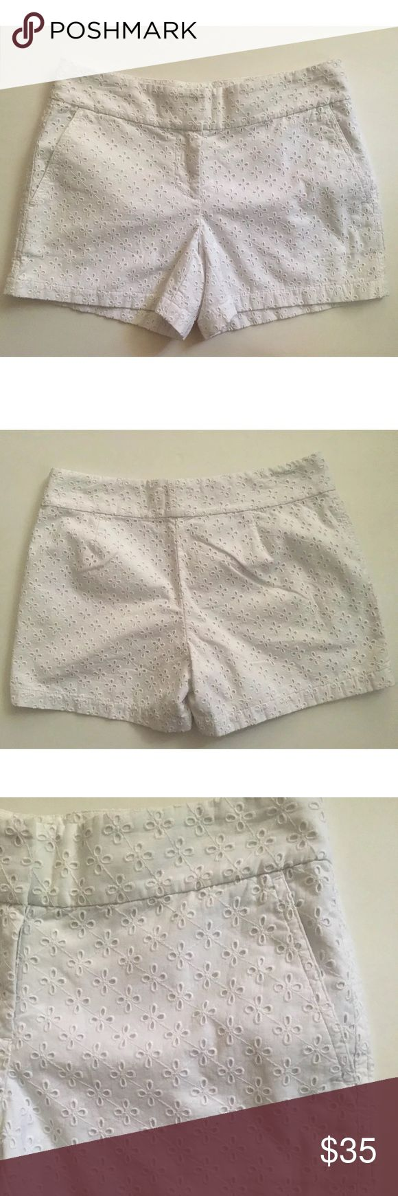 "Vineyard Vines White Eyelet Shorts White Eyelet shorts with front pockets. The tag has a black marking (last pic).                                                          Measurements taken flat  Waist 15"" Rise 8"" Inseam 4"" Vineyard Vines Shorts"