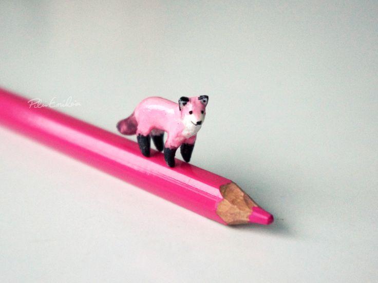 Miniature Pink Fox, Polymer clay sculpture. €8.00, via Etsy.