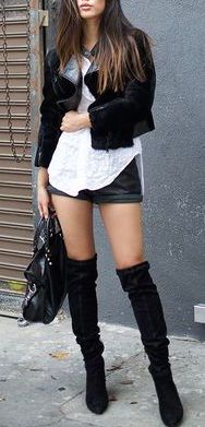 #fall #outfits / leather jacket + knee-length boots