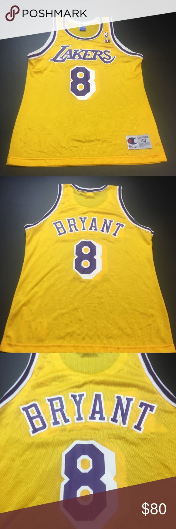 Vintage LA Lakers Kobe Bryant Champion Jersey Gently worn Vintage Los Angeles Lakers Kobe Bryant Size 40 Champion Basketball Jersey. In excellent condition with no major flaws. Champion Shirts Tank Tops