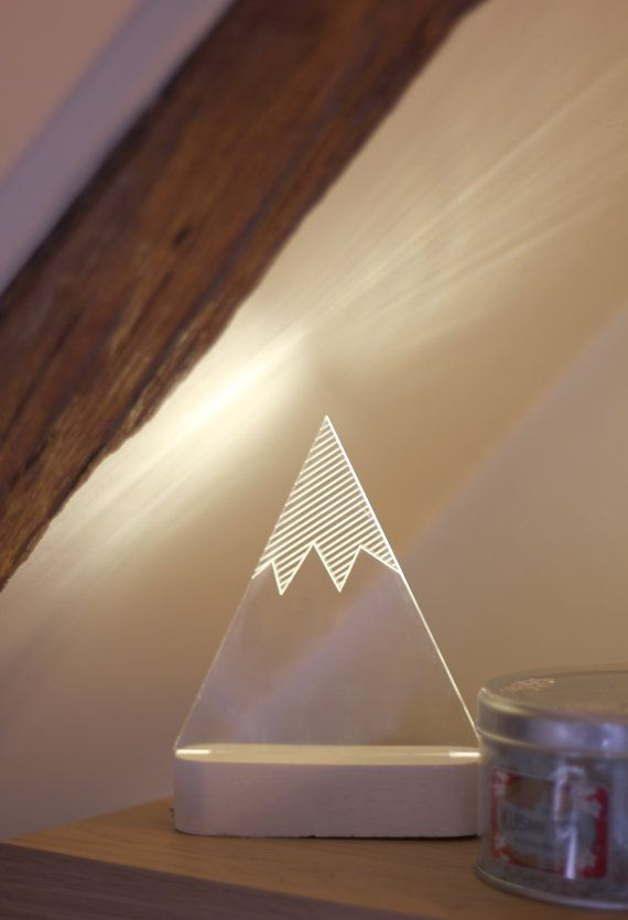 Beautiful modern snowy mountain lamp, laser engraved winter themed decorative lamp. Add modern simplicity and humour to your house or office.