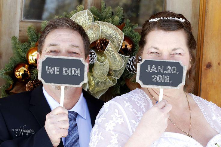 Fun wedding photography props at The Little Log wedding Chapel in Niagara