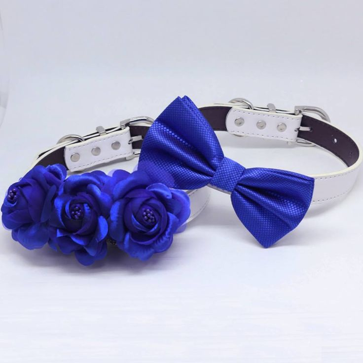 Royal Blue Wedding Two Dog Collars, Royal Blue bow tie and Floral Dog Collar, Handmade