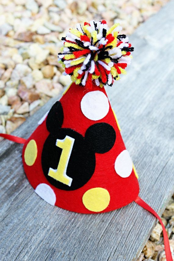 1st Birthday Disney Ears Disney Birthday Party Hat Red Mickey Ear Birthday Headband Disney Birthday Ears With Party Hat Party Supplies Paper Party Supplies