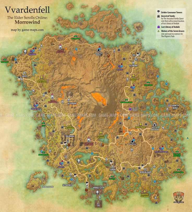 Vvardenfell zone map for The Elder Scrolls Online: Morrowind. Vivec City. Delves, World Bosses, Quest Hubs and Skyshards in Vvardenfell. Surrounded by the Inner Sea, the sprawling volcanic island of Vvardenfell dominates northern Morrowind. Looming over this strange land is the ominous, ever-smoldering peak of Red Mountain.