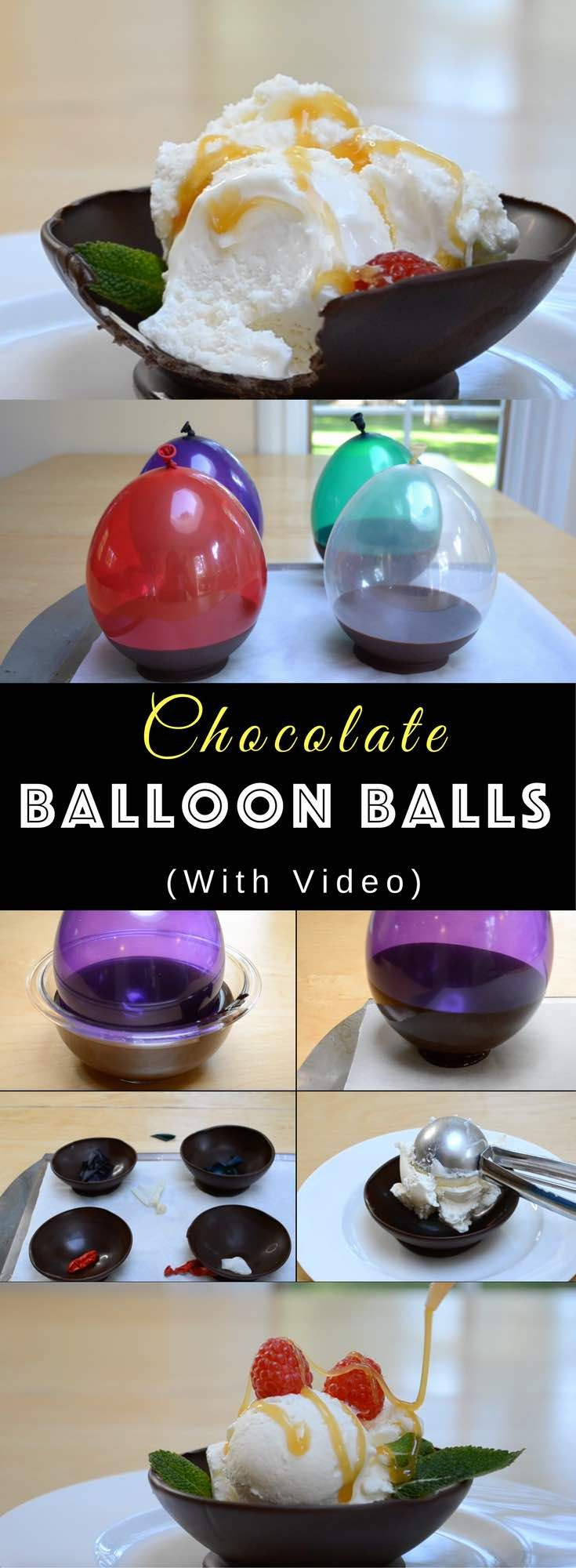 : DIY Chocolate Balloon Bowls – Edible bowls made of chocolate using ballons! Special trick using balloons make it really easy to shape the chocolate into bowls. So cool! Quick and easy recipe, no bake dessert, mother's day recipe, holiday party video recipe. | Tipbuzz.com