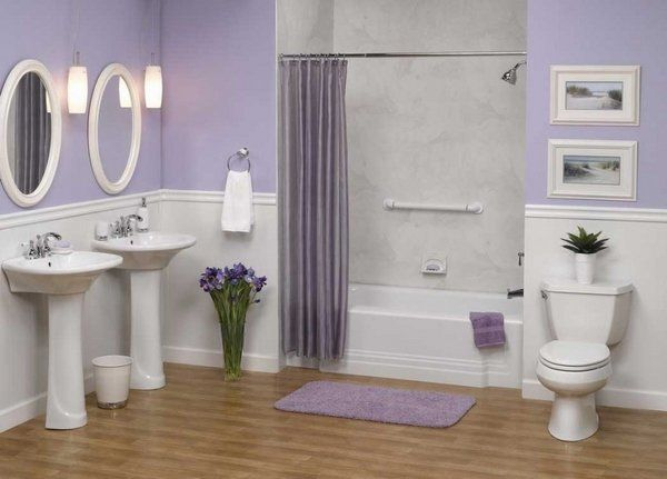 lilac bathroom with white love it