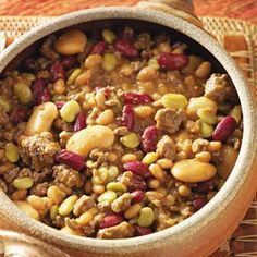 Texas Recipes  this is called cowboy calico beans   might want some of  this for the western theme party  e hamm