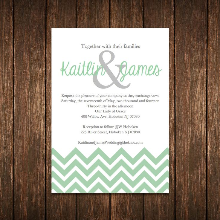 printable samples of wedding invitations%0A DIY Chevron Wedding Invitation Template Mint by baumanndesigns