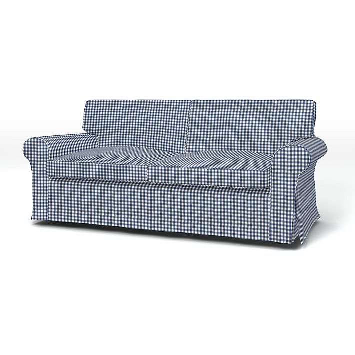 Ektorp, Sofa Covers, 2 Seater Sofa Bed, Regular Fit using the fabric Vreta Gingham Check Blue/White