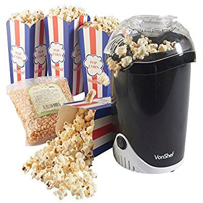 VonShef Fat-Free Hot Air Popcorn Maker, Free 2 Year Warranty, FREE 500g Popcorn Kernels + 4 Popcorn Boxes Included