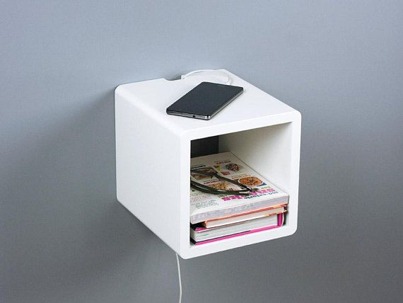 Mini Cube Modern Floating Nightstand Small Wall Mount Side Table
