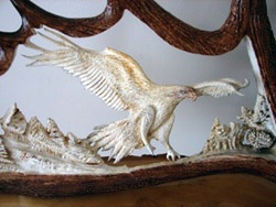 'Golden Eagle' by Serge Proulx (carved moose antler)