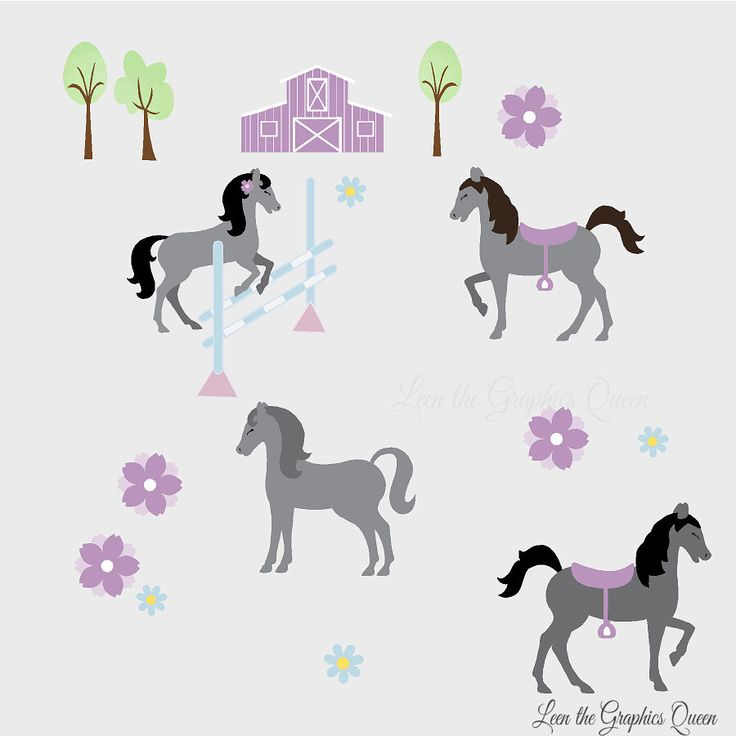 Pretty Horses - Reusable Wall Decals for Girl Horse Room Nursery - Fabric Wall Stickers Brown Grey Gray Pink Purple Accents with Barn Farm by LeenTheGraphicsQueen on Etsy https://www.etsy.com/listing/178933841/pretty-horses-reusable-wall-decals-for