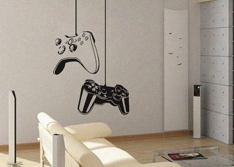 Boys Gamer Themed Bedroom in Shades of Gray and Orange