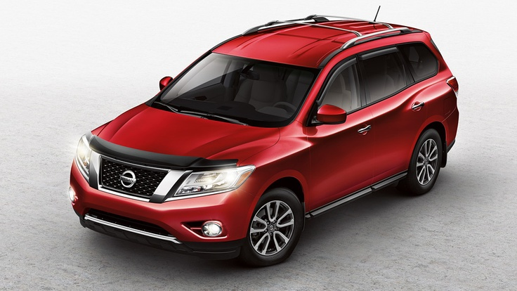 Nissan Pathfinder SV shown in Cayenne Red with Fog Lights,  Hood Protector, Side-window Deflectors and Roof Rail Crossbars | www.crownnissan.ca