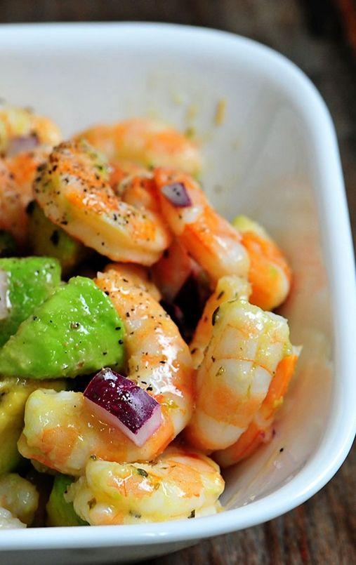 Shrimp Avocado Salad Recipe (however, I wouldn't use the avocado - I'd probably use olives or artichoke hearts) LOL!