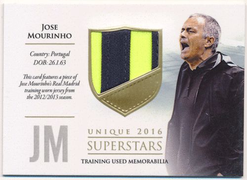 Jose Mourinho 2016 Futera Unique Traning Used Memorabilia Superstars Patch 17/59