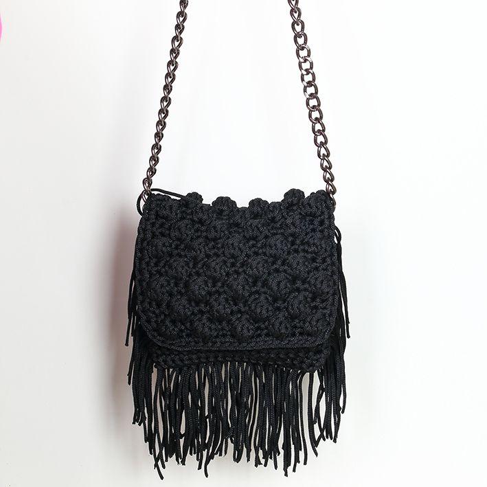 Handmade crochet flap bag