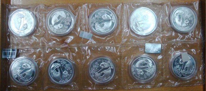 1993 China a sheet of 1oz silver panda coin Small Date (shenyang mint)