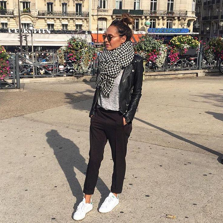 «Sur le chemin du retour ... #dernierjouraparis #toutaunefin #outfit #paris Pantalon #mango ref: 53007581 Écharpe #monoprix tee shirt Natamelie.fr…»