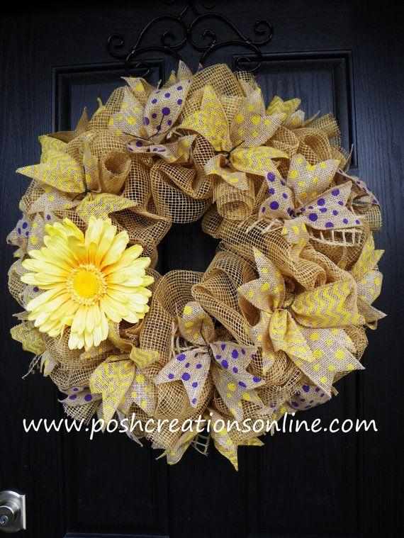 Spring Mesh Wreath Spring Wreath Summer Wreath by poshcreationsKY