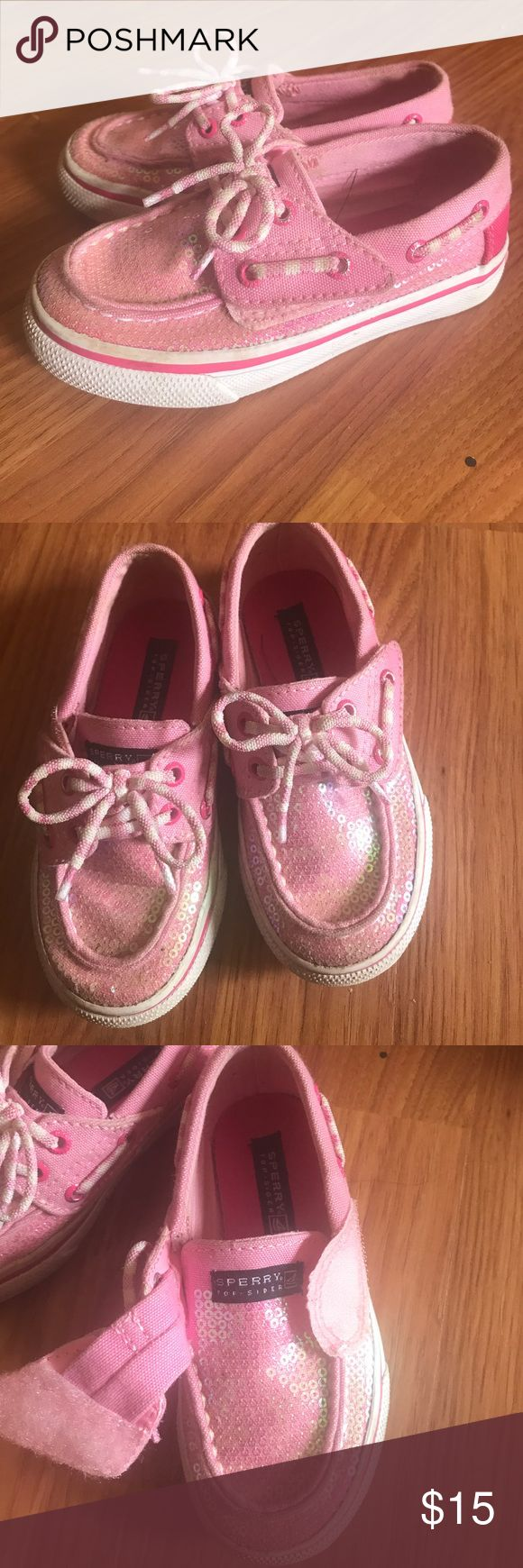 Sperry Top Slider. Girls 8M. Top sliders for girls. Size 8M. Velcro but look like they was tied. They are so cute. Was not wore long as kids grow so fast!!  (A-2) Sperry Top-Sider Shoes Sneakers