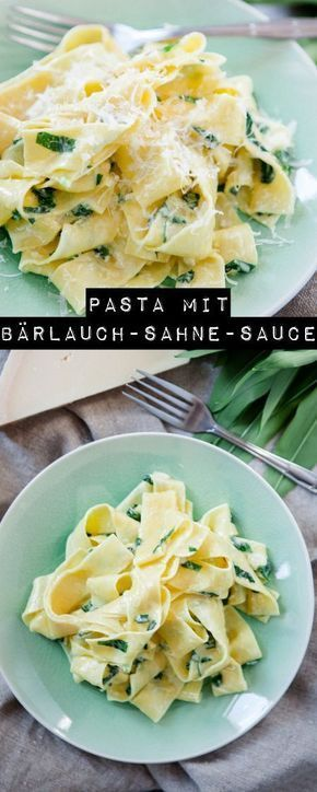 Pasta with wild garlic cream sauce – big wild garlic love   – essen