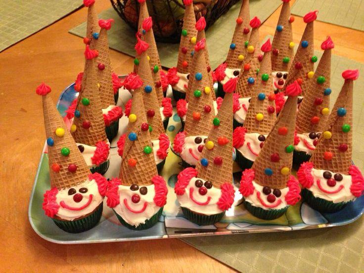 Clown Cupcakes Circus Party Pinterest Cupcake