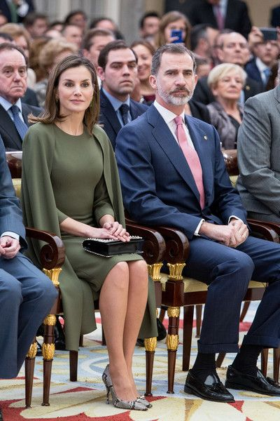 King Felipe VI of Spain (R) and Queen Letizia of Spain (L) attend the National Sports Awards ceremony at El Pardo Palace on February 19, 2018 in Madrid, Spain.