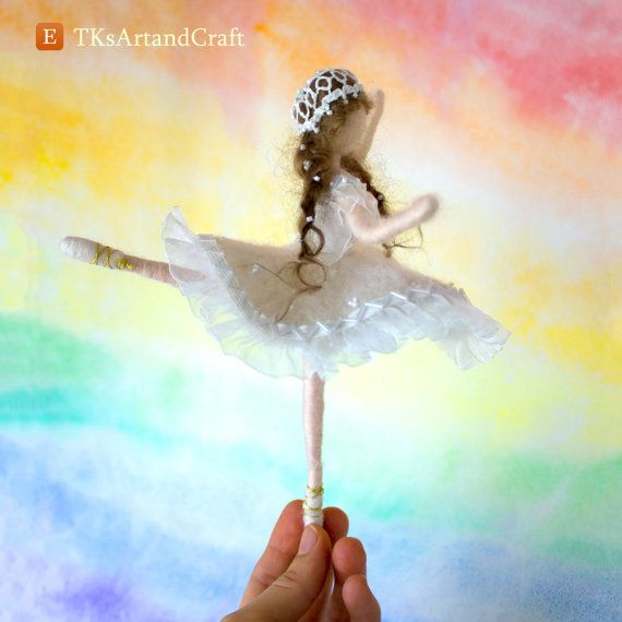 Glamourous Needle Felted Doll  Ballet Dancer in White
