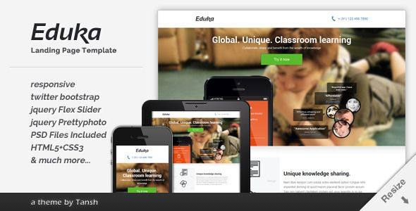 Eduka Responsive HTML Landing Page Template - ThemeForest Item for Sale