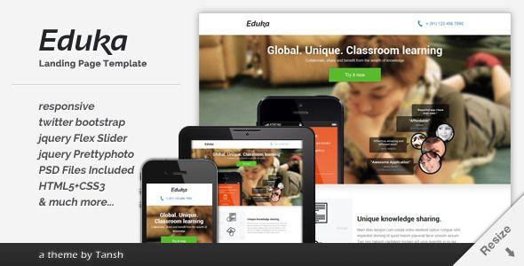 Eduka Responsive HTML Landing Page Template - ThemeForest Item for Sale
