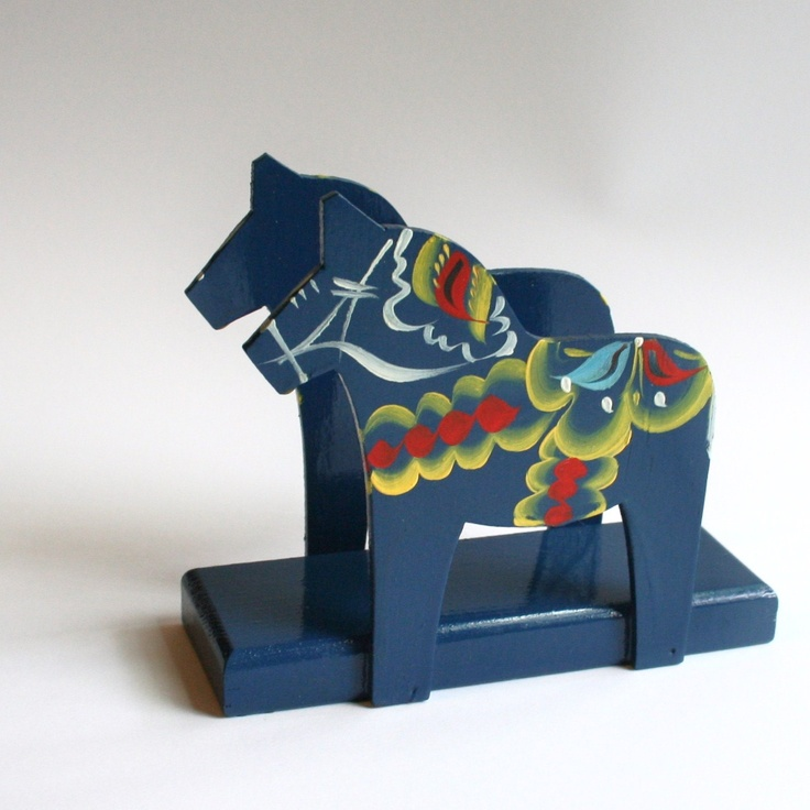 Dala Horse Scandinavian Napkin Holder Decor by Nils Olsson. via Etsy.