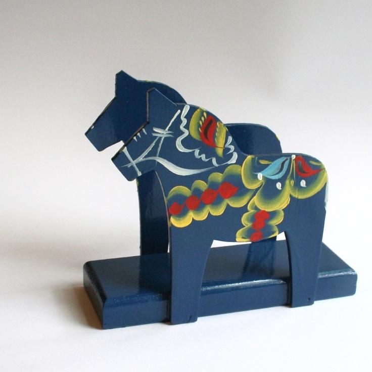 Dala horse napkin holder