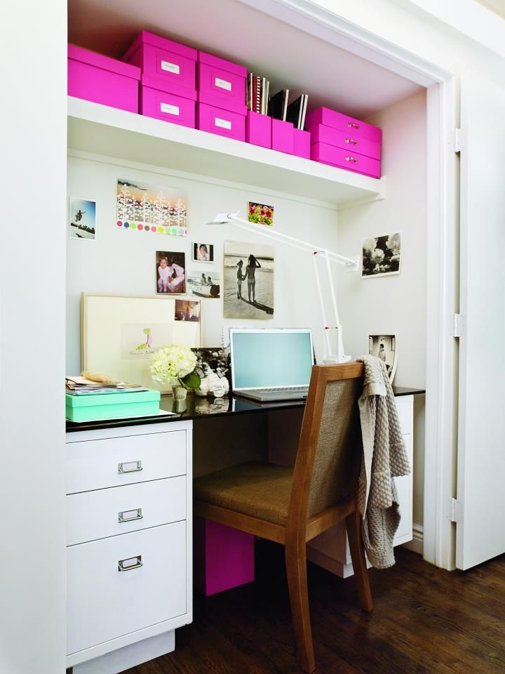 DOMINO Mag...use bright containers as ACCENT COLOR ACCESORIES: Closet Offices, Ideas, Closet Spaces, Closets, Offices Spaces, Small Spaces, Offices Nooks, Closet Desks, Home Offices